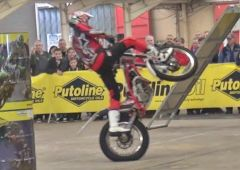 Gas Gas rider Steve Colley performing his stunt show at Stoneleigh park